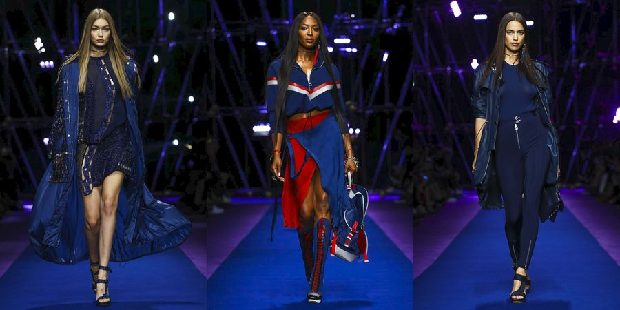 32bb26986 قدمت عارضات الأزياء الشهيرات ناعومي كامبل وجيجي حديد وإيرينا شايك مجموعة أزياء  نسائية جريئة ومتنوعة لدار فيرساتشي الإيطالية يوم الجمعة.